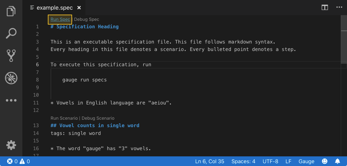 Visual Studio Code JavaScript run code lens
